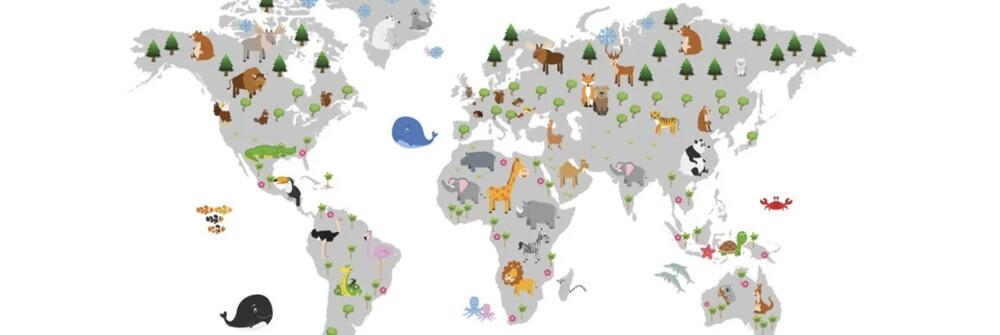 Papier peint pour enfant avec la carte du monde