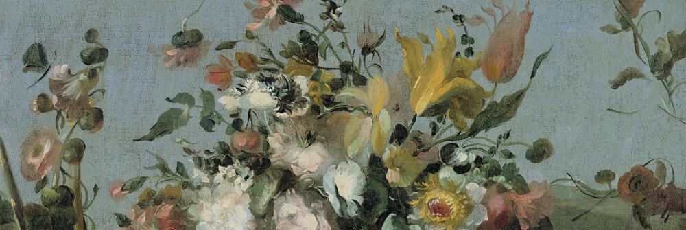 Papier peint avec nature morte & fleurs