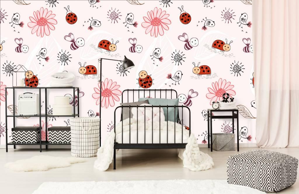 Papier peint bébé - Fleurs et abeilles - Chambre de bébé 2