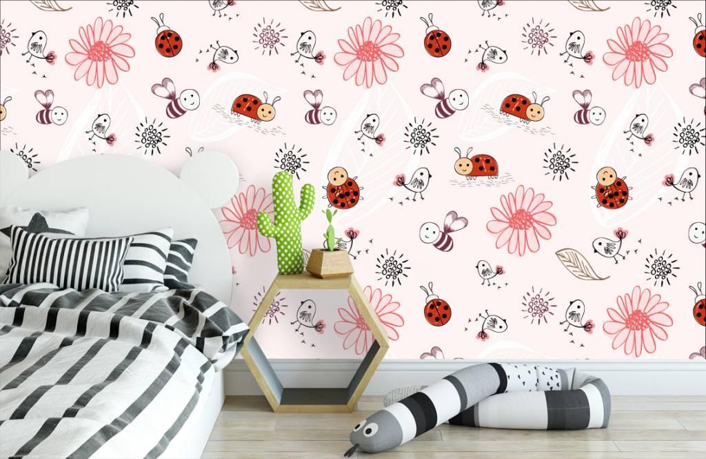 Papier peint bébé - Fleurs et abeilles - Chambre de bébé 3