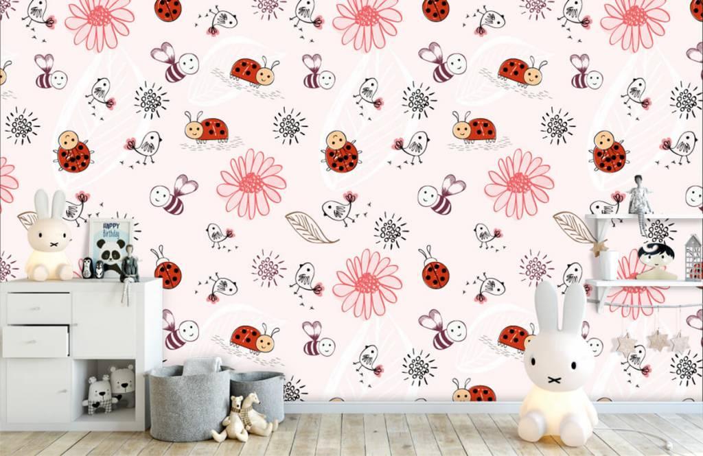 Papier peint bébé - Fleurs et abeilles - Chambre de bébé 5