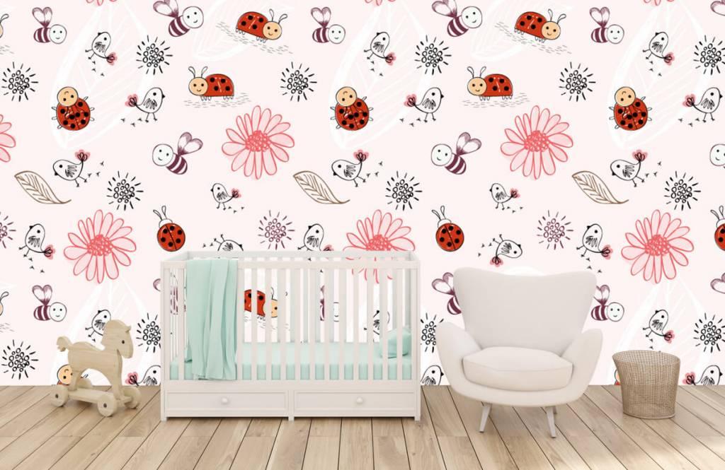 Papier peint bébé - Fleurs et abeilles - Chambre de bébé 6