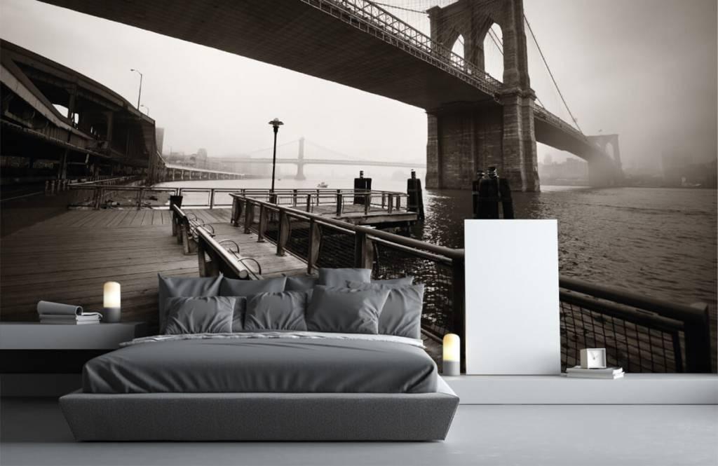 Papier peint noir et blanc - pont de Brooklyn - Chambre d'adolescent 3