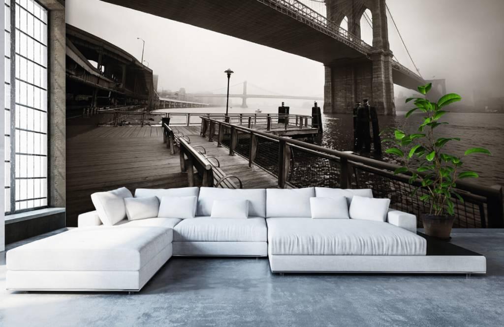 Papier peint noir et blanc - pont de Brooklyn - Chambre d'adolescent 6