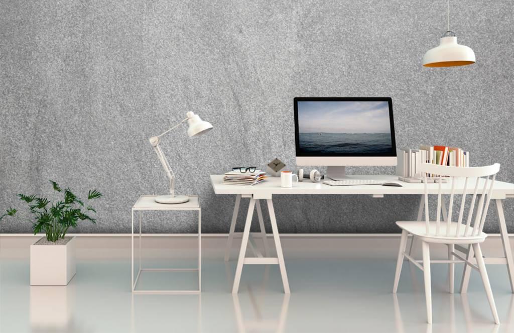 Papier peint aspect concret - Béton sablé foncé - Bureau 1