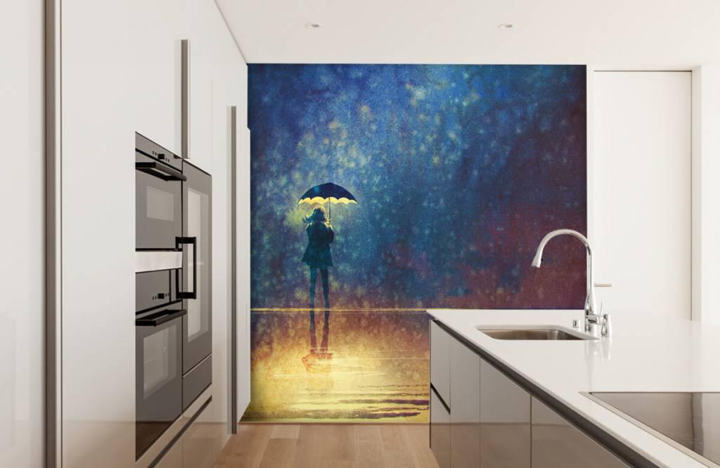 Papier peint moderne - Fille seule sous la pluie - Chambre d'hobby 4
