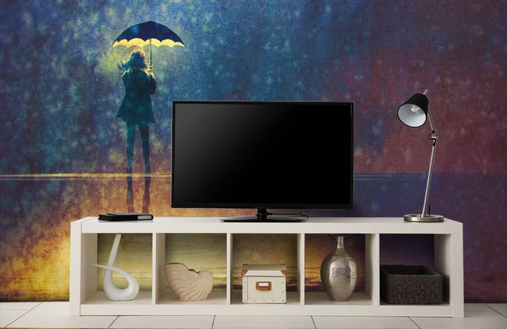 Papier peint moderne - Fille seule sous la pluie - Chambre d'hobby 5