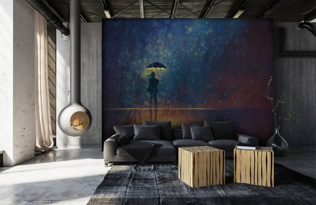 Papier peint moderne - Fille seule sous la pluie - Chambre d'hobby 6
