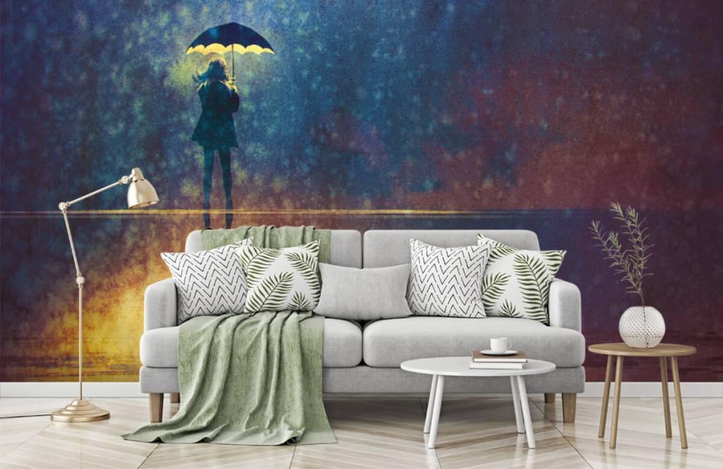 Papier peint moderne - Fille seule sous la pluie - Chambre d'hobby 7