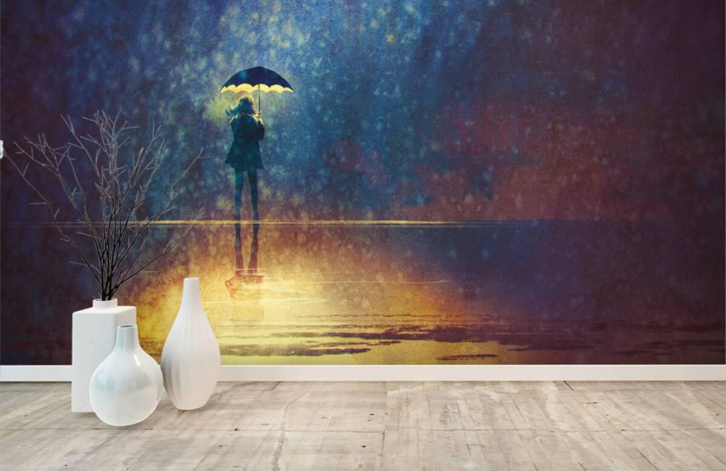 Papier peint moderne - Fille seule sous la pluie - Chambre d'hobby 8