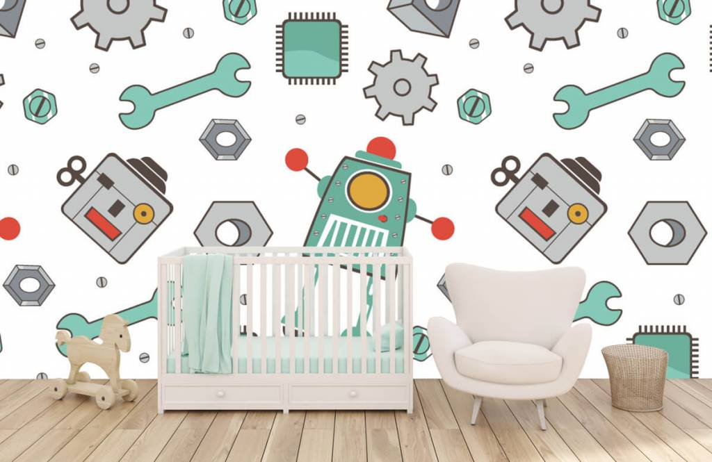 Papier peint enfants - Robots signés - Chambre des enfants 5