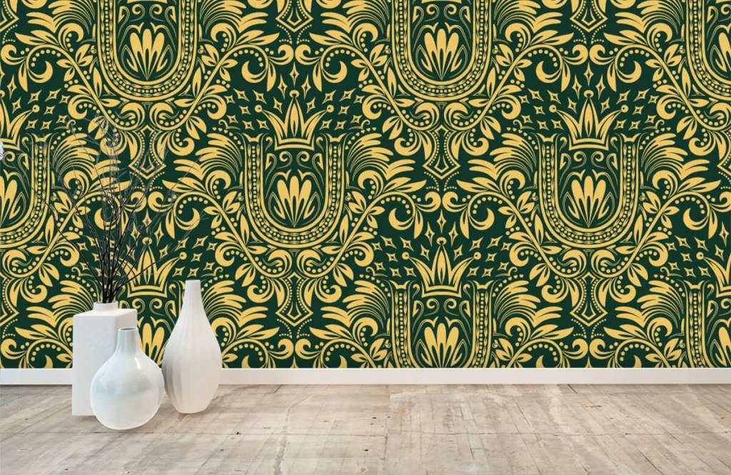 Papier peint baroque - Motif baroque vert - Chambre à coucher 1