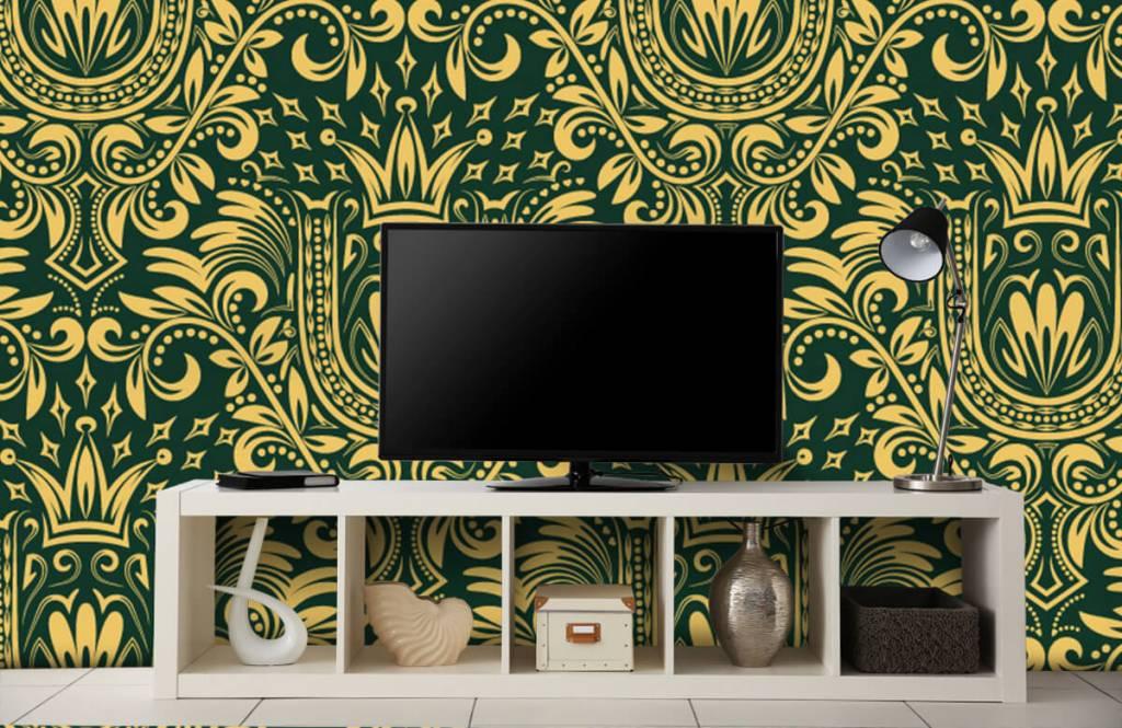 Papier peint baroque - Motif baroque vert - Chambre à coucher 5