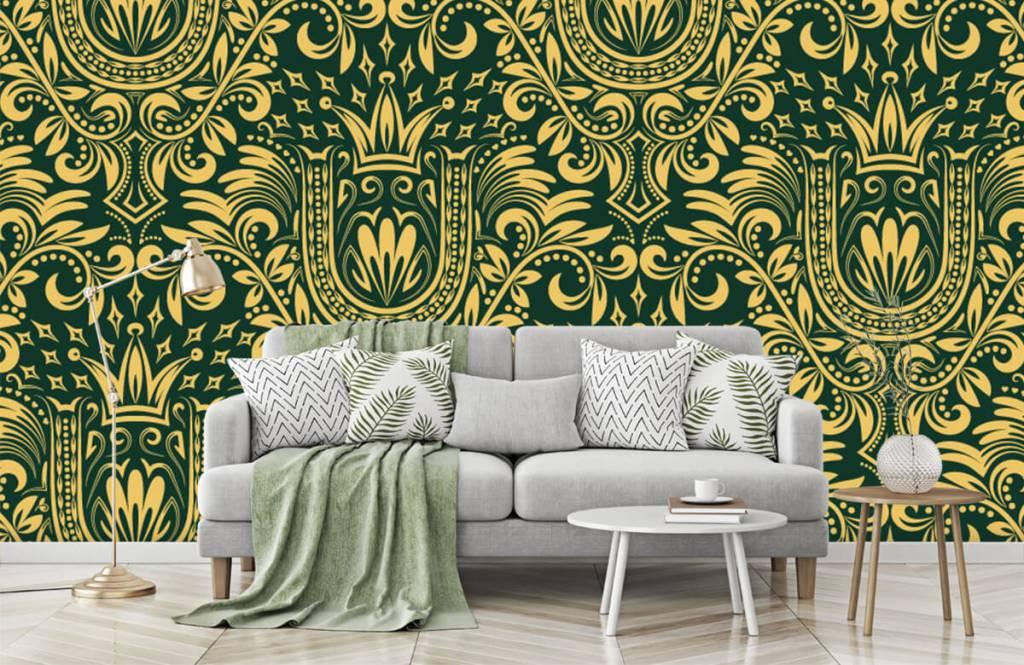 Papier peint baroque - Motif baroque vert - Chambre à coucher 8