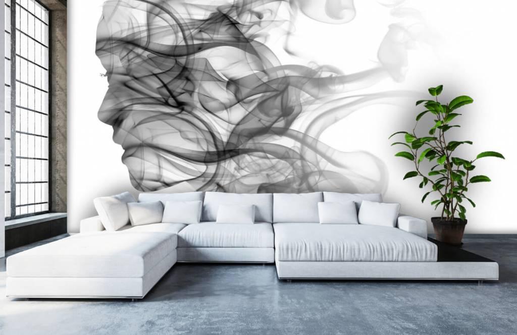 Papier peint moderne - Tête formée de fumée - Bureau 1