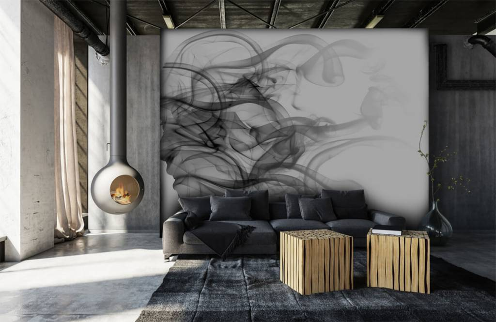 Papier peint moderne - Tête formée de fumée - Bureau 6