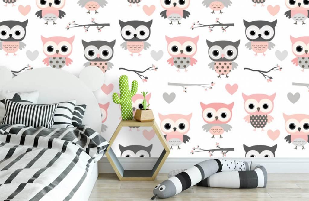 Papier peint oiseaux - Uilenpatroon - Chambre des enfants 3