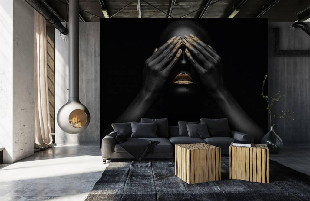 Papier peint moderne - Femme avec les mains devant les yeux - Salle de séjour 1