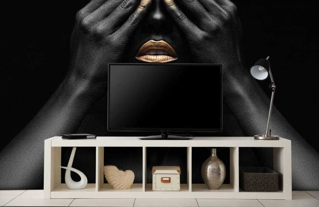 Papier peint moderne - Femme avec les mains devant les yeux - Salle de séjour 5
