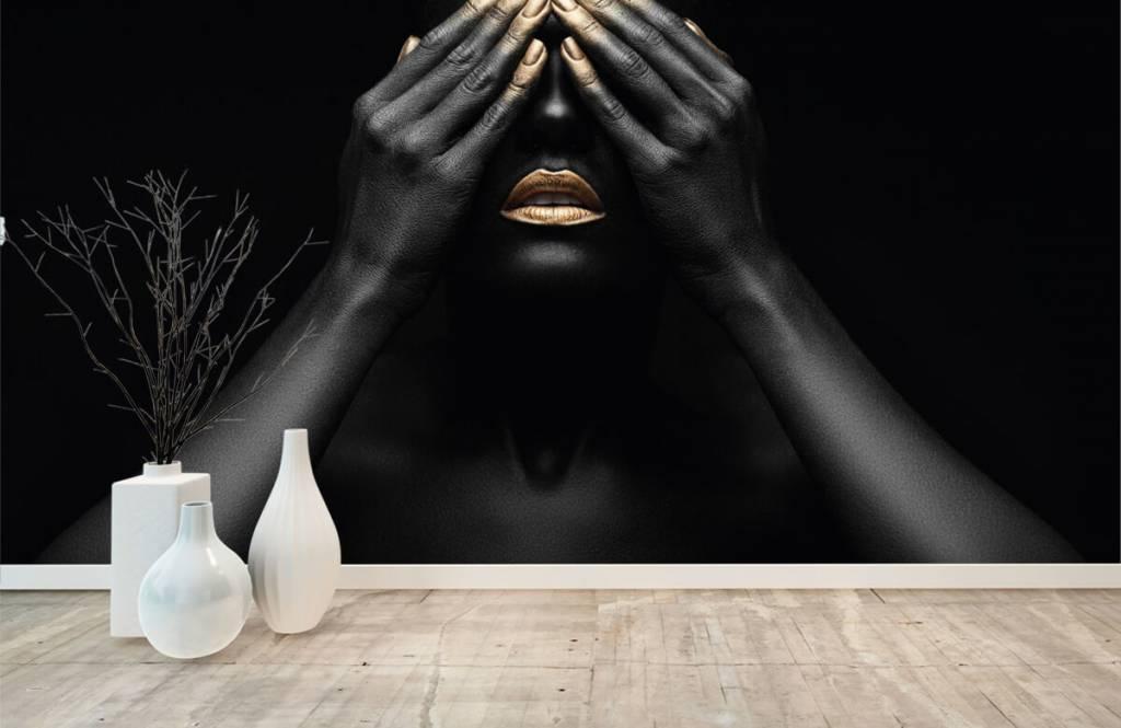 Papier peint moderne - Femme avec les mains devant les yeux - Salle de séjour 8