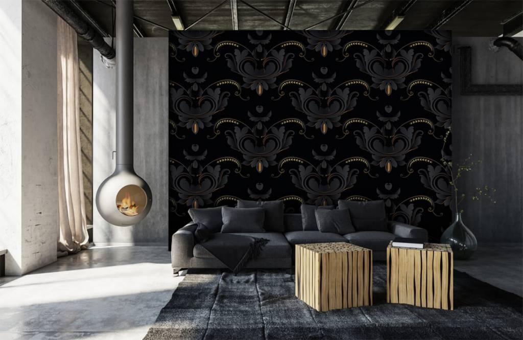 Papier peint baroque - Motif baroque en or noir - Chambre à coucher 2