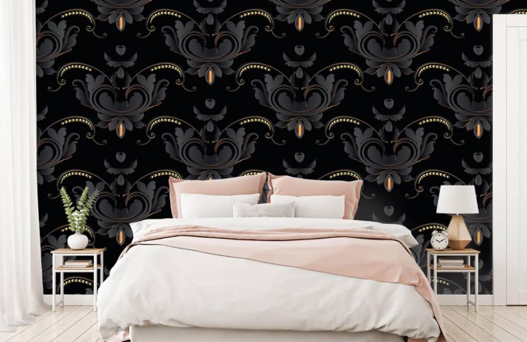 Papier peint baroque - Motif baroque en or noir - Chambre à coucher 3