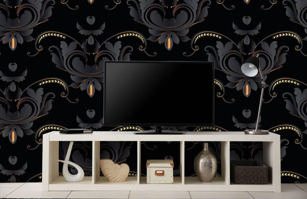 Papier peint baroque - Motif baroque en or noir - Chambre à coucher 5