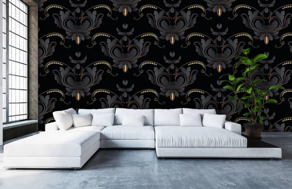 Papier peint baroque - Motif baroque en or noir - Chambre à coucher 6