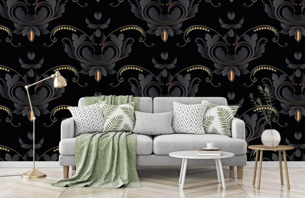 Papier peint baroque - Motif baroque en or noir - Chambre à coucher 7
