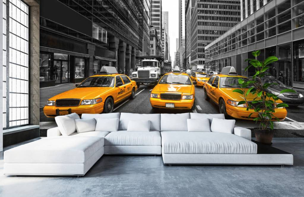 Papier peint noir et blanc - Taxis jaunes à New York - Chambre d'adolescent 1