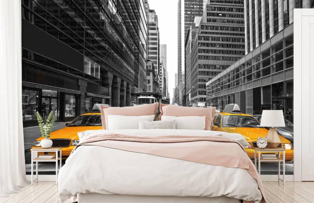Papier peint noir et blanc - Taxis jaunes à New York - Chambre d'adolescent 2
