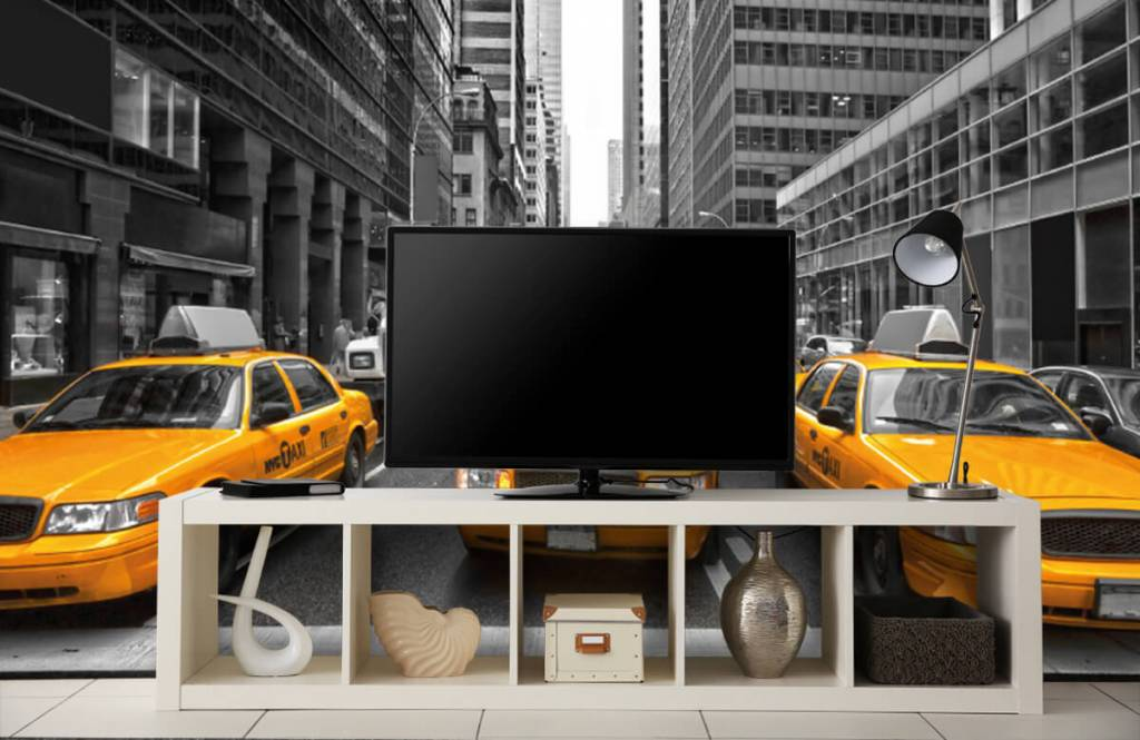 Papier peint noir et blanc - Taxis jaunes à New York - Chambre d'adolescent 5