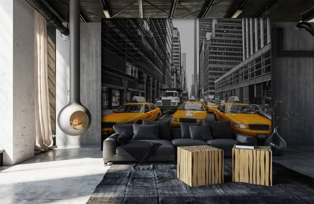 Papier peint noir et blanc - Taxis jaunes à New York - Chambre d'adolescent 6