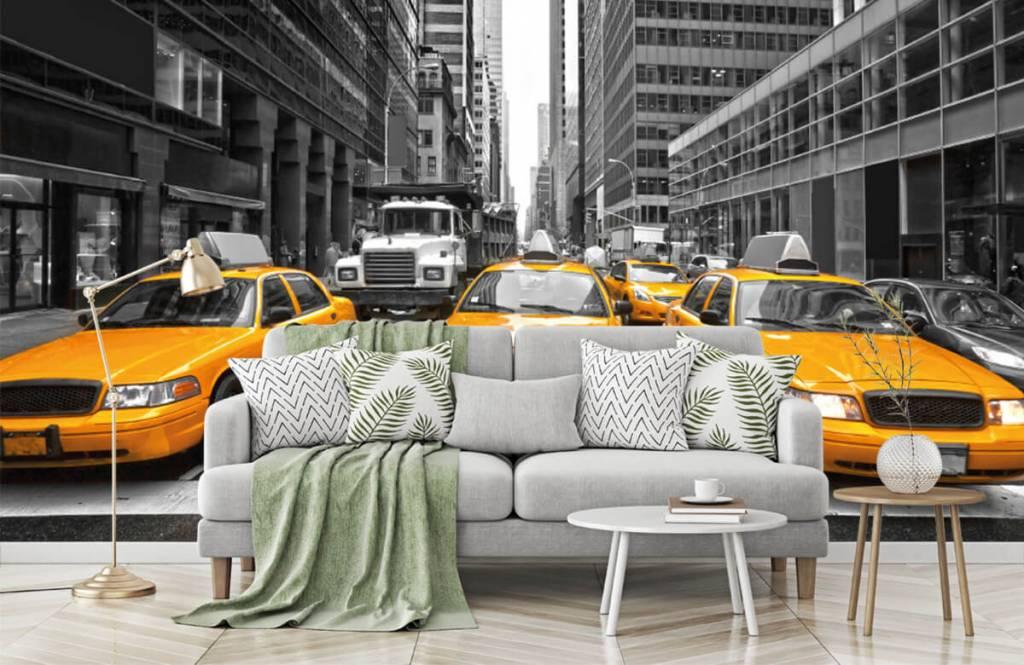 Papier peint noir et blanc - Taxis jaunes à New York - Chambre d'adolescent 7