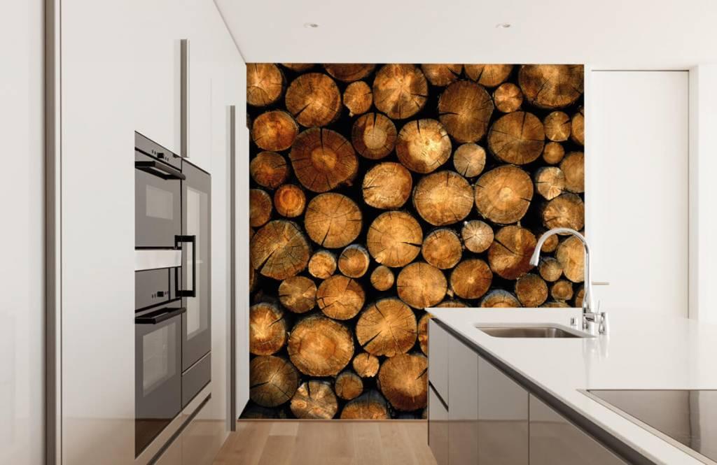 Papier peint en bois - Arbres tronqués empilés - Chambre à coucher 1