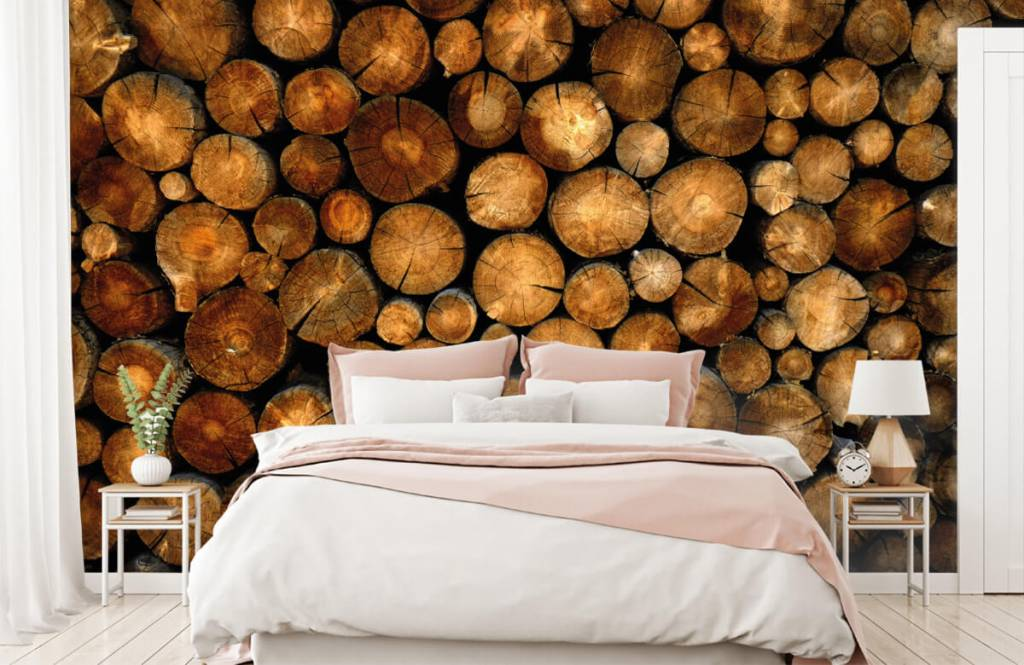 Papier peint en bois - Arbres tronqués empilés - Chambre à coucher 2