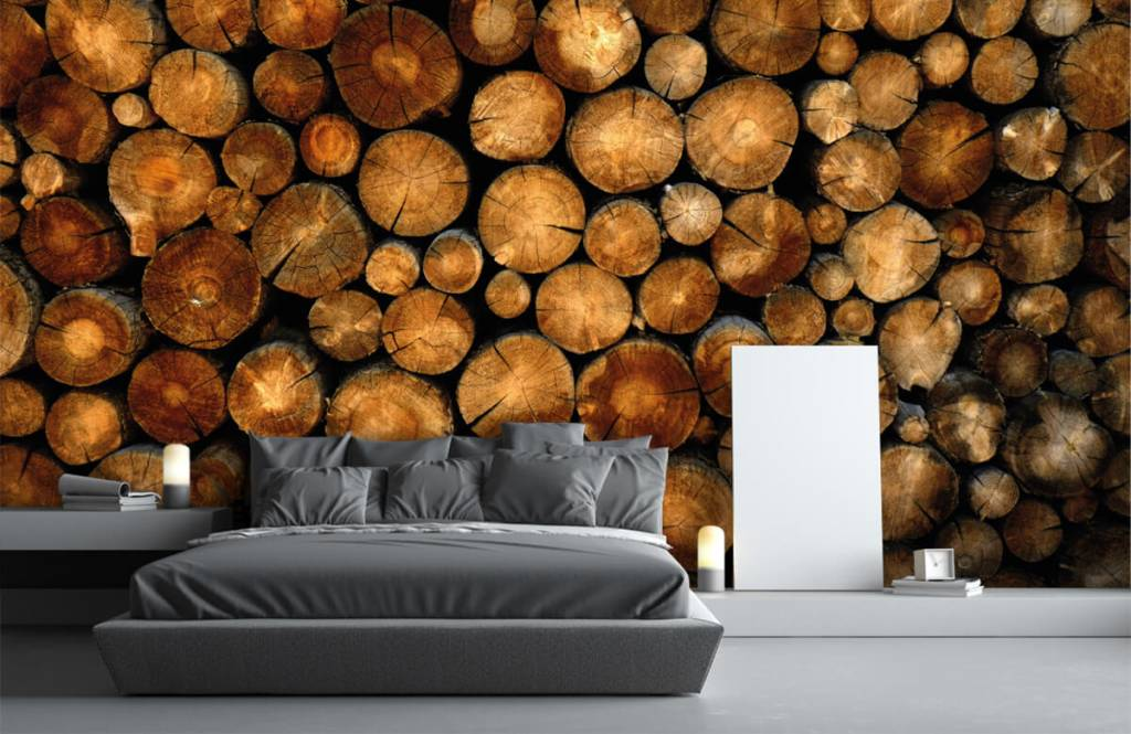 Papier peint en bois - Arbres tronqués empilés - Chambre à coucher 3