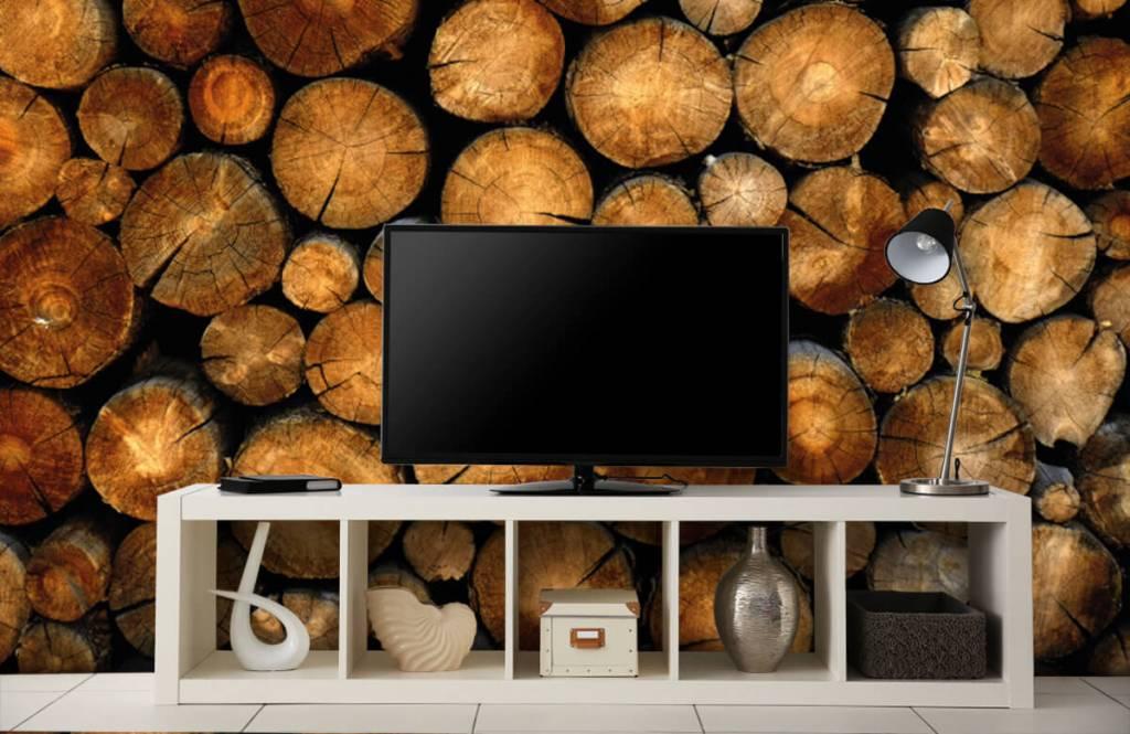 Papier peint en bois - Arbres tronqués empilés - Chambre à coucher 4