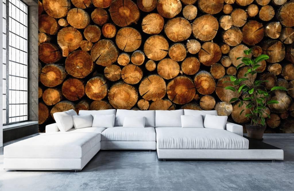 Papier peint en bois - Arbres tronqués empilés - Chambre à coucher 5