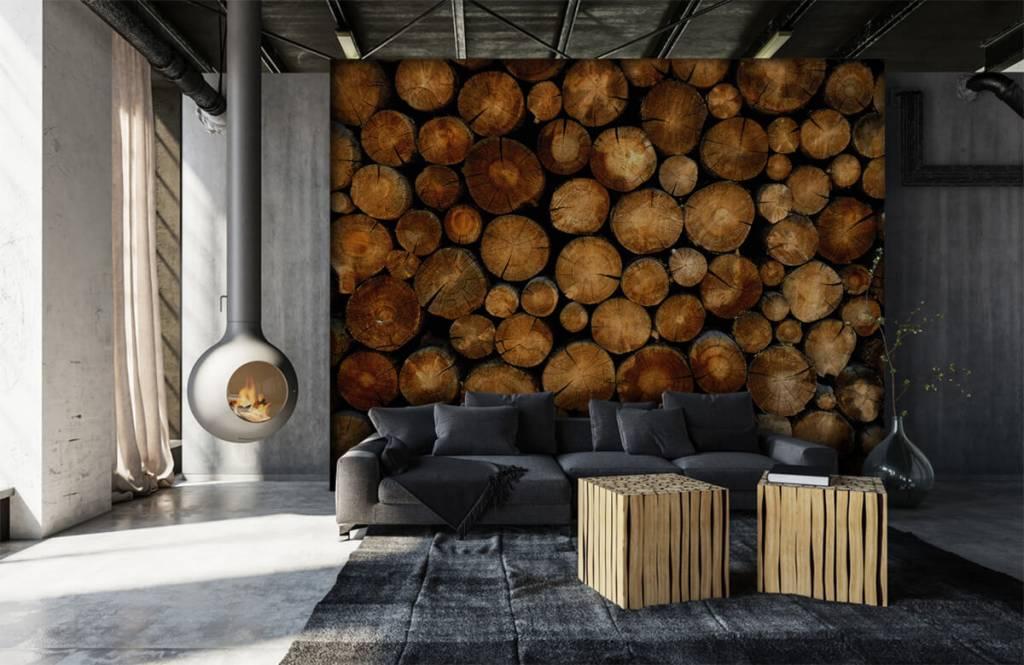 Papier peint en bois - Arbres tronqués empilés - Chambre à coucher 6