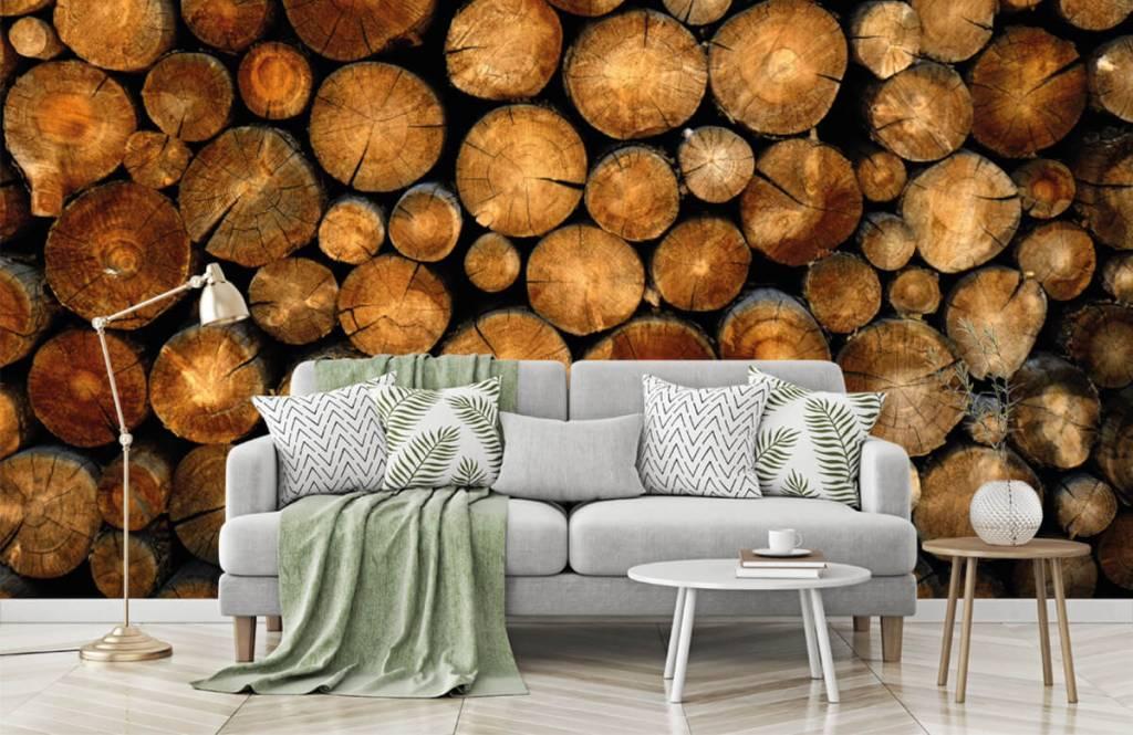 Papier peint en bois - Arbres tronqués empilés - Chambre à coucher 7