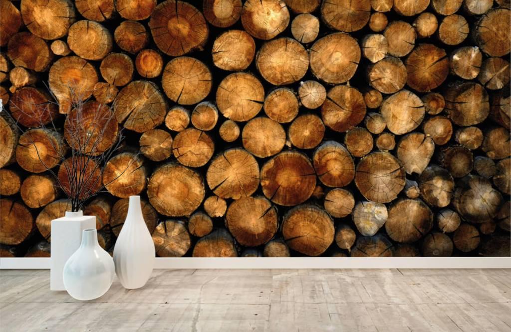 Papier peint en bois - Arbres tronqués empilés - Chambre à coucher 8