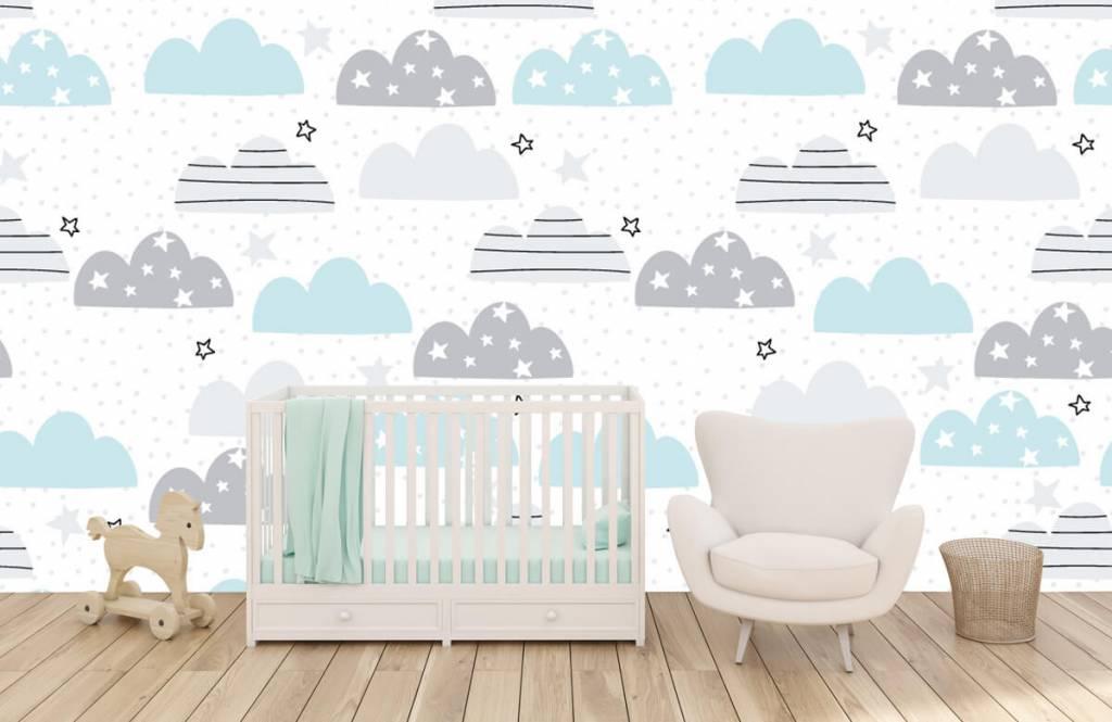 Papier peint bébé - Les nuages dessinés - Chambre de bébé 6
