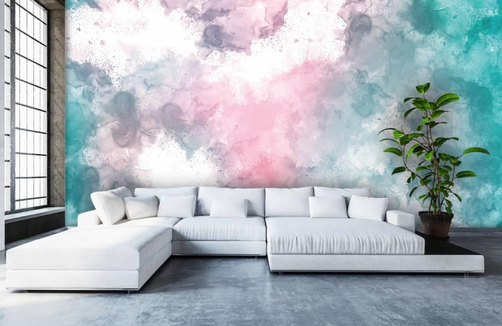 Fond d'écran abstrait - Fumée rose verte - Chambre d'adolescent 3