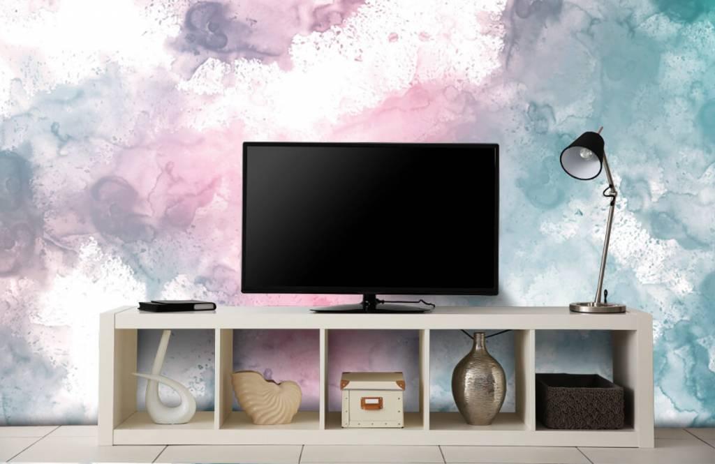 Fond d'écran abstrait - Fumée rose verte - Chambre d'adolescent 4
