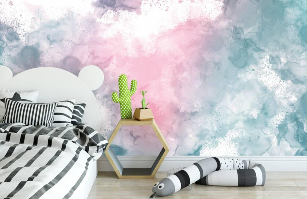 Fond d'écran abstrait - Fumée rose verte - Chambre d'adolescent 7