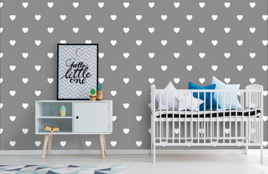 Papier peint bébé - Petits cœurs blancs - Chambre de bébé 1