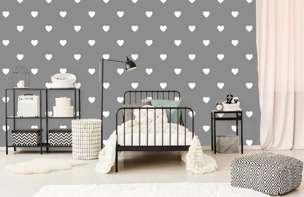 Papier peint bébé - Petits cœurs blancs - Chambre de bébé 2