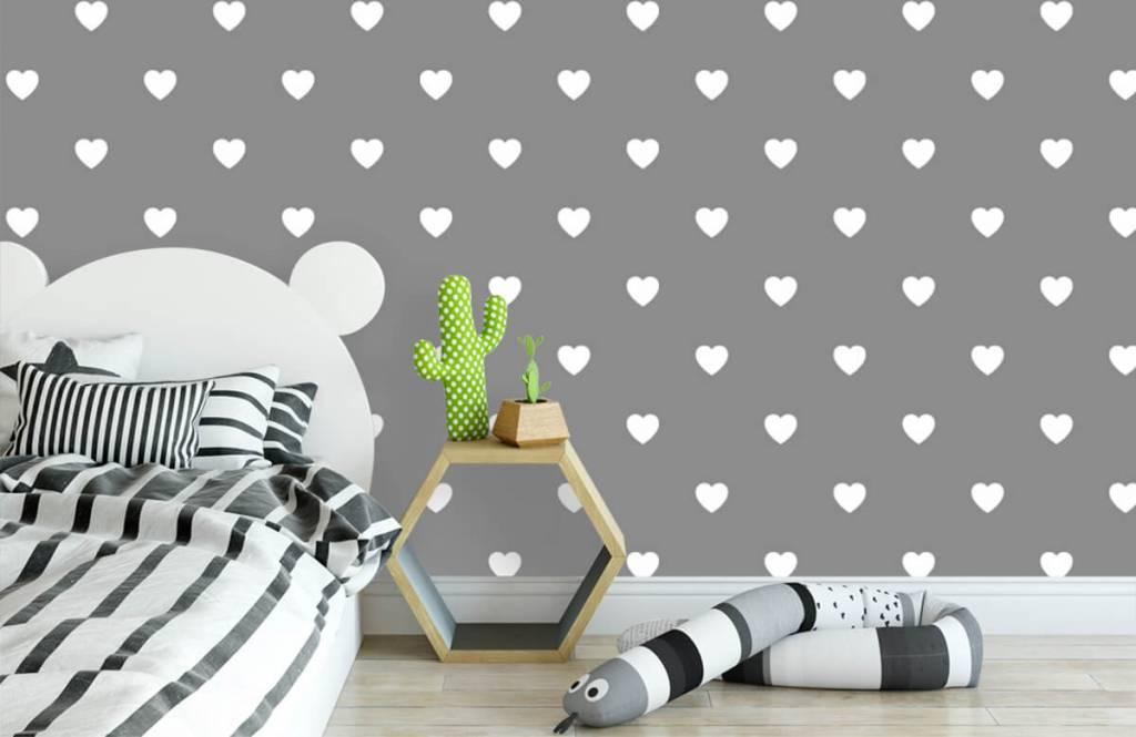 Papier peint bébé - Petits cœurs blancs - Chambre de bébé 3