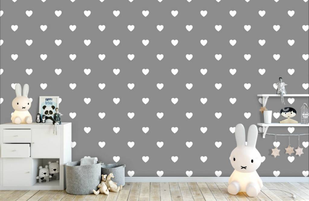 Papier peint bébé - Petits cœurs blancs - Chambre de bébé 5